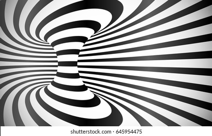 Vector curved stripes optical illusion abstract background