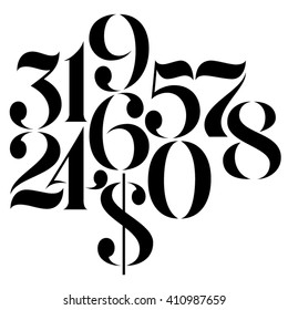 Vector custom design elegant numbers and US dollar symbol