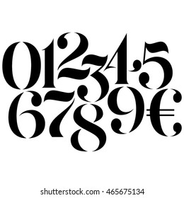 Vector custom design elegant numbers and Euro symbol