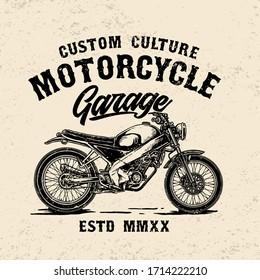 vector of custom vintage motorcycle garage