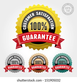 Vector : Customer Satisfaction Guarantee Badge and Sign with Glossy - banner, sticker, tag, icon, stamp, label
