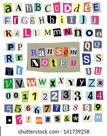 Vector cut newspaper and magazine letters, numbers, & symbols. Mixed u/c & l/c and multiple options for each one. Perfect design elements for a ransom note, creative typography, & more. EPS 10.