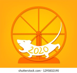 Vector cut out paper illustration with cute cheerful rat running in the wheel symbol of new 2020 year