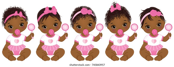 Vector cute African American baby girls with rattles sitting. Baby girls with various hairstyles.