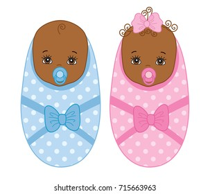 Vector cute African American newborn twins. Vector baby boy. Vector baby girl. African American twins vector illustration