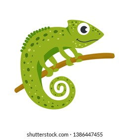 Vector cute African animal. Chameleon. Funny character for kids. Isolated element for stickers, cards, invites and posters
