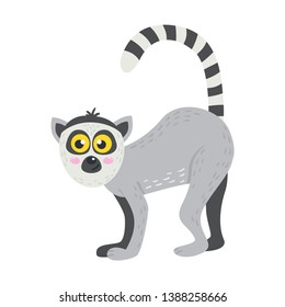 Vector cute African animal. Lemur. Funny character for kids. Isolated element for stickers, cards, invites and posters