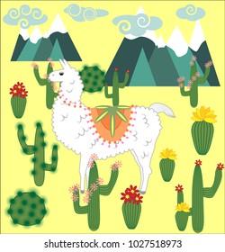 Vector cute Alpaca. Llama animals and cactus. Llama Alpaca. Cartoon animal.