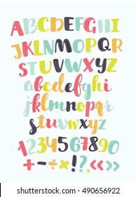 Vector cute alphabet colorful sticker alphabet with number and plus, minus, division, multiplication, quotation marks, equals. Set of characters uppercase, lowercase colorl letters for card, banners