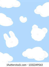 Vector  cute animal , bear and rabbit flying cloud on blue sky background illustration