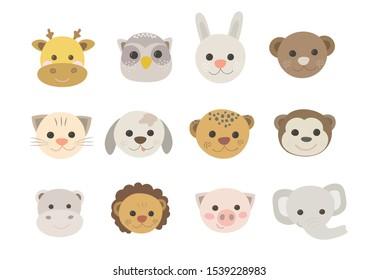 Vector Cute animal faces, safari animals clipart, farm animals, lion, giraffe, rabbit, monkey, hippo, elephant, owl, leopard, cat, dog