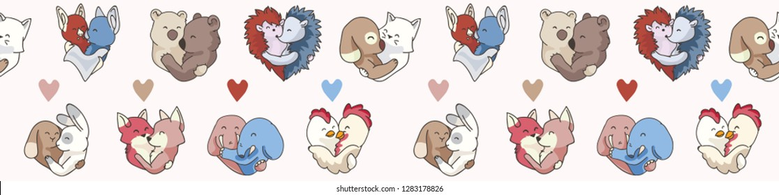 Vector cute animal hug hearts. Hand drawn seamless vector border illustration, isolated. 2 animal couples hugging for romantic valentines day, wedding or love is all you need banner. Free hug concept