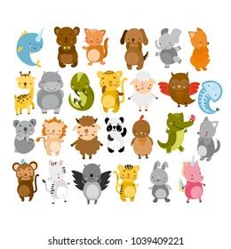 vector cute animals. owl, panda, cat, dog, koala, crocodile, lion, fox, wolf, bear, giraffe.