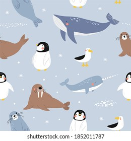 Vector with cute Arctic animals - Polar bear, seal, penguin, walrus, whale, fish, narwhal, albatross.  Seamless pattern with Cartoon characters Arctic and antarctic animals