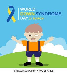 Vector cute baby boy with down syndrome of World Down Syndrome Day.