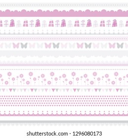 Vector cute baby seamless border. Child birthday pattern. Vector female background. Scrapbooking Kids card, baby party Clipart. illustration with butterfly, flowers, hearts.