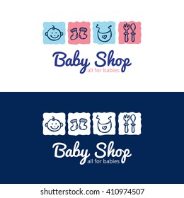 Vector cute baby shop logo in doodle style. Kids store logotype