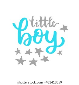 Vector cute baby Shower invitation with lettering for little boy. Baby Shower Invitation Template. lettering