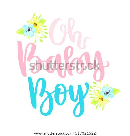 Vector Cute Baby Shower Invitation Lettering Stock Vector Royalty