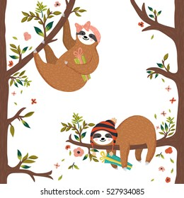 Vector cute baby sloths. Funny sloths hanging on the tree, first girl holding gift box, second hipster boy sleeping on the branch. Adorable hand drawn forest animals. Vector illustration