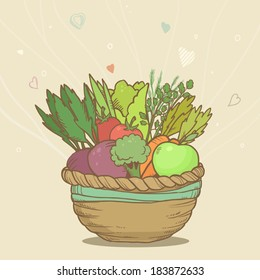Vector cute basket with hand drawn vegetables on abstract background