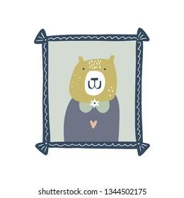 Vector cute bear animal painting portrait in frame. Child cute illustration, nursery decor. Baby style art