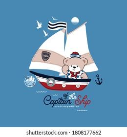 vector of cute bear, captain of the ship, animal, captain, cute bear for t shirt etc.