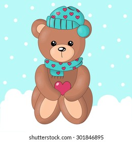 Vector of cute bear in snow background.
