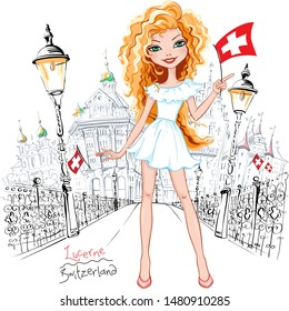 Vector cute beautiful blond girl in summer white dress with swiss flag on Reussbrucke bridge in the Old Town of Lucerne, Switzerland