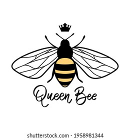 Vector cute bee illustration in flat style. Cartoon flying honey bee character isolated on white background. Buzzing insect. Funny and positive quote, pun or phrase. Queen Bee.