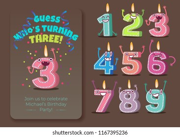 Vector cute birthday poster with candle number three 3 character with flame at his head dancing, guess whos turning three inscription, 1 to 9 numbers. Kids birthday holiday party background design