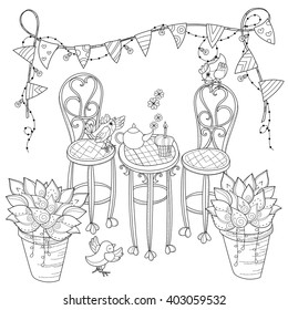 Vector cute birthday  tea time .Vector line illustration.Sketch  coloring adult book.Boho style hand drawn doodle.Terassa, chairs, table, teapot, pie, plants in pots, birds, tea time, light garland