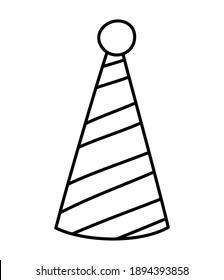 Vector cute black and white birthday hat. Funny b-day accessory for card, poster, print design. Outline holiday illustration for kids. Celebration line icon isolated on white background