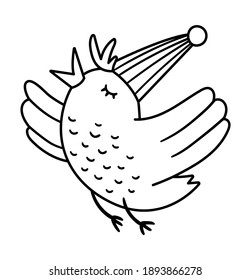 Vector cute black and white flying bird in birthday hat. Funny b-day animal for card, poster, print design. Outline holiday illustration for kids. Cheerful celebration character line icon