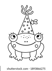Vector cute black and white frog in birthday hat. Funny b-day animal for card, poster, print design. Outline holiday illustration for kids. Cheerful celebration character line icon