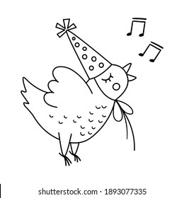 Vector cute black and white singing chicken in birthday hat. Funny flying b-day bird for card, poster, print design. Holiday illustration for kids. Cheerful celebration character line icon