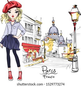 Vector cute blond girl in red beret on Place du Tertre near Sacre-Coeur, quarter Montmartre in Paris, France