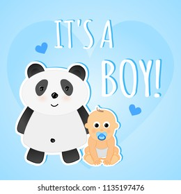Vector cute blue greeting shower card it's a boy with baby and panda.