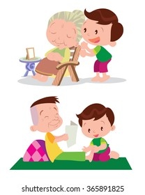 Vector of Cute boy cartoon healing massage grandfather and grandmather