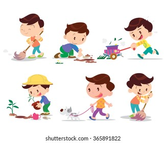 Vector of Cute boy cartoon working home so happy many action.