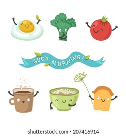Vector cute breakfast: cartoon food set of cute funny stuff for breakfast (egg, tomato, broccoli, toast, a cup of coffee, oatmeal porridge)