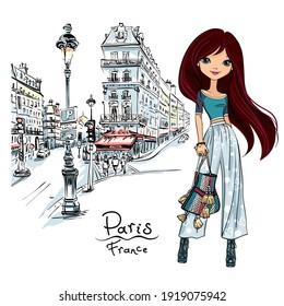 Vector cute brunette girl on a paris street in Paris, France