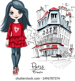 Vector cute brunette girl in red dress and sneakers in Paris, France