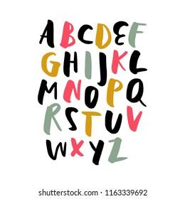 Vector cute brush hand drawn lettering alphabet
