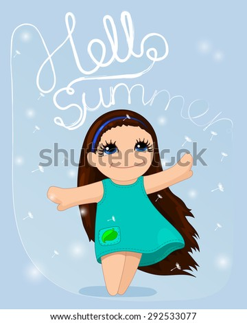 Vector Cute Card Lovely Little Haired Stock Vector (Royalty Free ... 2d9437c67f230