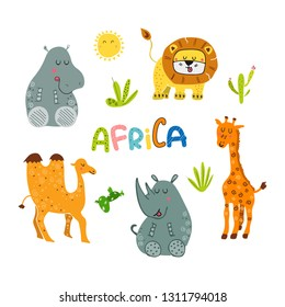 Vector cute cartoon Africa and African animals stylized set. Doodle and flat style with lettering. Colorful jungle hand drawn lion,crocodile,hippo,giraffe,rhino,camel isolated on white background.
