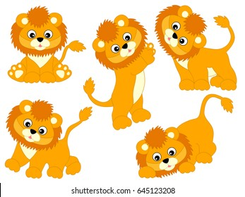 Vector cute cartoon baby lions set, lion cub, lion clipart, vector illustration