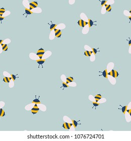 Vector cute cartoon bee seamless pattern background