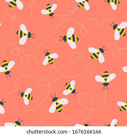 Vector cute cartoon bee seamless pattern background