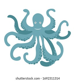 Vector cute cartoon blue octopus isolated on white background. Vector illustration EPS.10